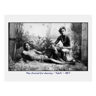 Tahitian Men Dressed for Dancing Postcard