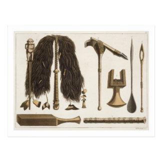 Tahitian tools and Ceremonial instruments, illustr Postcard