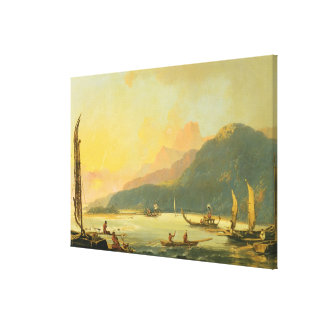 Tahitian War Galleys in Matavai Bay, Tahiti, 1766 Canvas Print