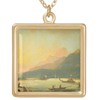 Tahitian War Galleys in Matavai Bay, Tahiti, 1766 Gold Plated Necklace