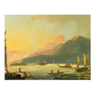 Tahitian War Galleys in Matavai Bay, Tahiti, 1766 Postcard