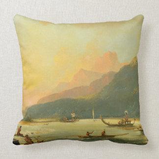 Tahitian War Galleys in Matavai Bay, Tahiti, 1766 Throw Pillow