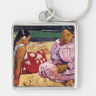 Tahitian Women on the Beach, Paul Gauguin Silver-Colored Square Keychain