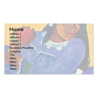 Tahitierin With Mango By Gauguin Paul Double-Sided Standard Business Cards (Pack Of 100)