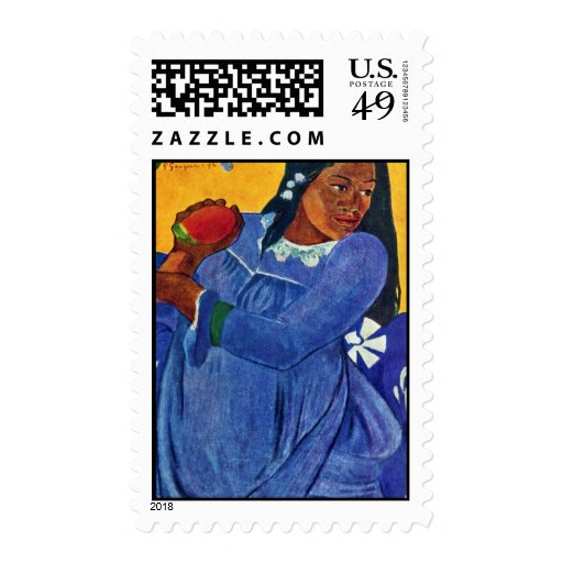 Tahitierin With Mango By Gauguin Paul Postage Stamp