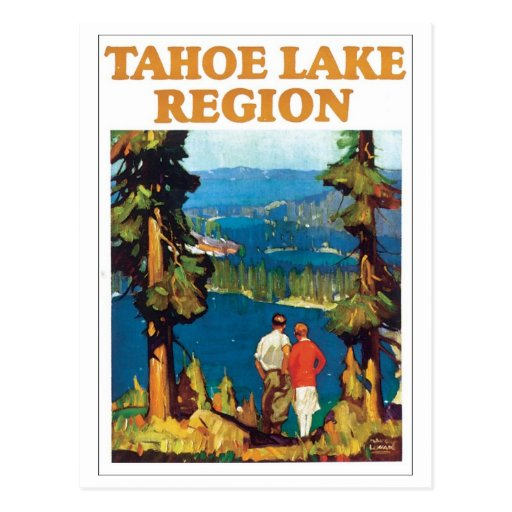 Tahoe Lake Region Travel Poster Postcard