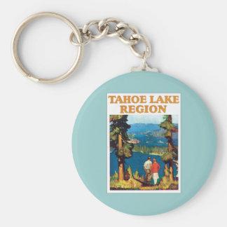 Tahoe Lake Region Vintage Basic Round Button Keychain