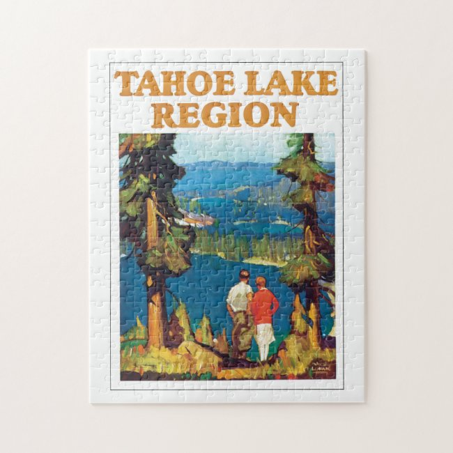Tahoe Lake Region Vintage Travel Poster Artwork Jigsaw Puzzle