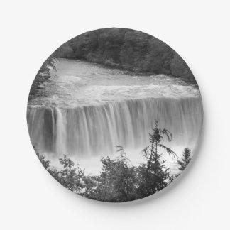 Tahquamenon Upper Falls Grayscale Paper Plate