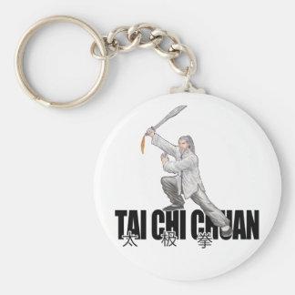 Tai Chi Broad Sword Basic Round Button Keychain