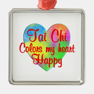 Tai Chi Colors My Heart Happy Metal Ornament