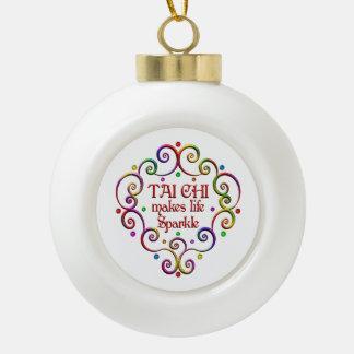 Tai Chi Sparkles Ceramic Ball Christmas Ornament