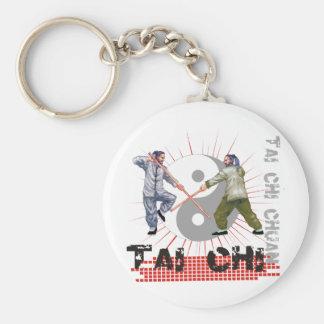 Tai Chi Staff Fighting Basic Round Button Keychain