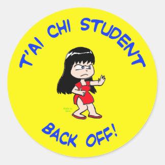 t'ai chi tai je student back off classic round sticker