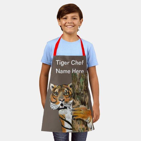 Tai Chi Tiger Chef (Name Here) Kids Brown Apron