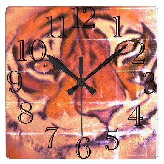 Tai Chi Tiger Face Wall Art with a Purpose Square Wall Clock