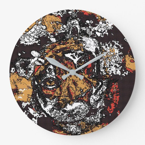 Tai Chi Tiger Iconic Insight Golden Browns Large Clock