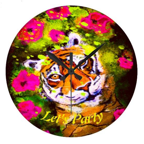 Tai Chi Tiger Let's Party Large Clock