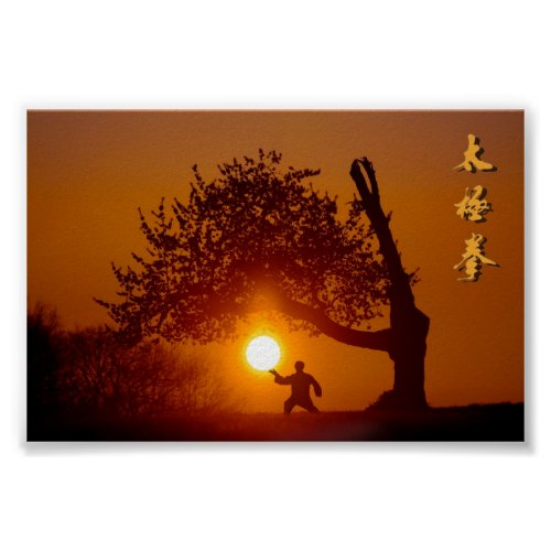 Taichi taiji tree cherry tree setting sun poster