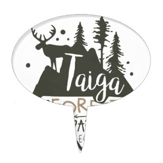 Taiga forest eco park promo sign cake topper