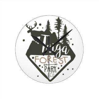 Taiga forest eco park promo sign round clock