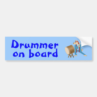 Taiko Drum Cartoon Dog Taiko Drummer Bumper Sticker