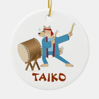 Taiko Drum Cartoon Dog Taiko Drummer Ceramic Ornament