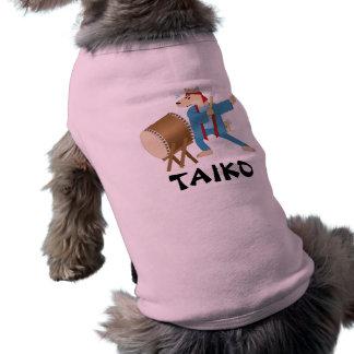 Taiko Drum Cartoon Dog Taiko Drummer Pet T Shirt