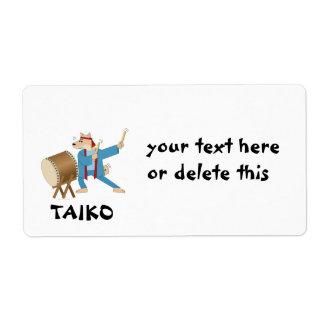 Taiko Drum Cartoon Dog Taiko Drummer Shipping Label