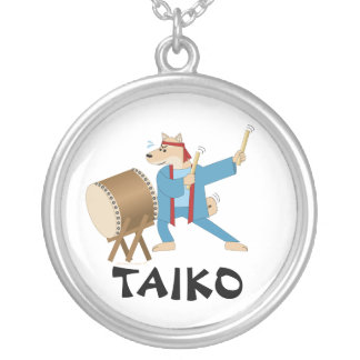 Taiko Drum Cartoon Dog Taiko Drummer Silver Plated Necklace