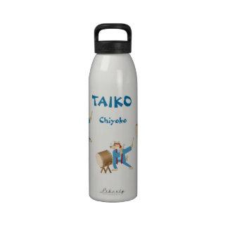 Taiko Drum Cartoon Dog Taiko Drummer Reusable Water Bottles