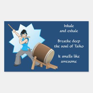 Taiko Smells Like Awesome (Art + Haiku) Rectangular Sticker