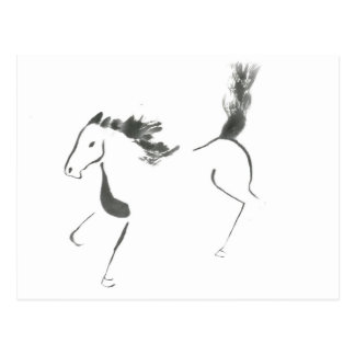 Tail High, Sumi-e Year of the Horse Postcard