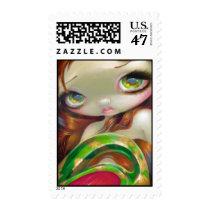 mermaid, mermaids, nymph, big eyed mermaid, big eyes mermaid, big eye, jasmine, becket-griffith, jasmine becket-griffith, strangeling, artsprojekt, green, tail, delicate, water, pond, gold, art, fantasy, eye, eyes, big eyed, becket, griffith, goth, gothic, low brow, big eyes, fantasy art, original, lowbrow art, pop, surrealism, pop surrealist, work of art, chrome green, fantasy life, spectral colour, greenishness, cyberart, Selo postal com design gráfico personalizado