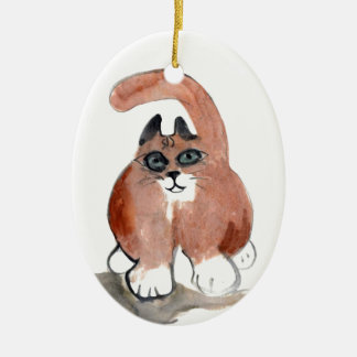 Tail Wag to the Left Ceramic Ornament