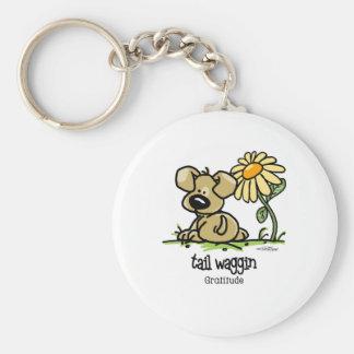 Tail Waggin Gratitude - Flower Basic Round Button Keychain
