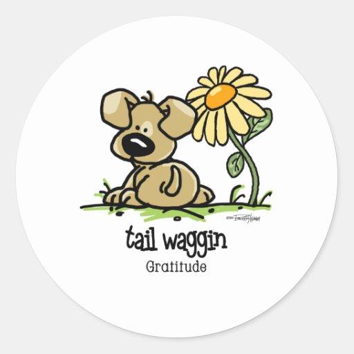 Tail Waggin Gratitude - Flower Round Stickers
