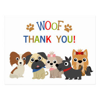 Tail Wagging Dog Birthday Thank You Postcard
