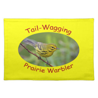 Tail-wagging prairie warbler placemat