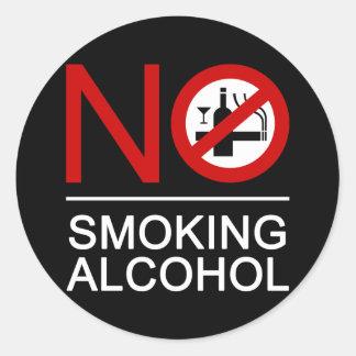 ⚠ tailandés de la muestra del ⚠ de no fumadores pegatina redonda