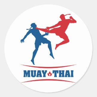 Tailandés de Muay Etiqueta Redonda