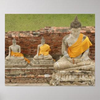Tailandia, Ayutthaya. Estatuas de buddhas que se s Póster
