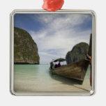Tailandia, isla de la endecha de la phi de la phi, adorno navideño cuadrado de metal