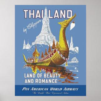 Tailandia/la tierra del vintage de la belleza y póster