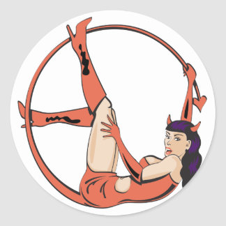 Tailed She Devil Round Stickers