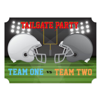 Tailgate Football Helmets USA Ribs Wings Party 4 Card
