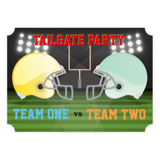 Tailgate Football Helmets USA Ribs Wings Party Card