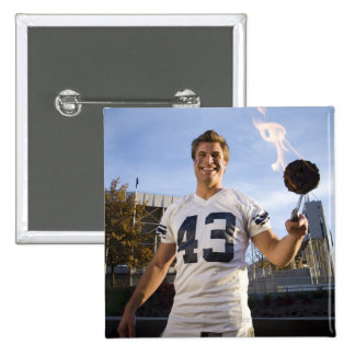tailgate party before a football game 2 inch square button