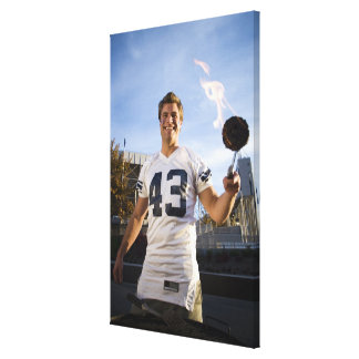 tailgate party before a football game canvas print