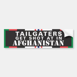 Tailgaters get shot at in Afghanistan Bumper Sticker